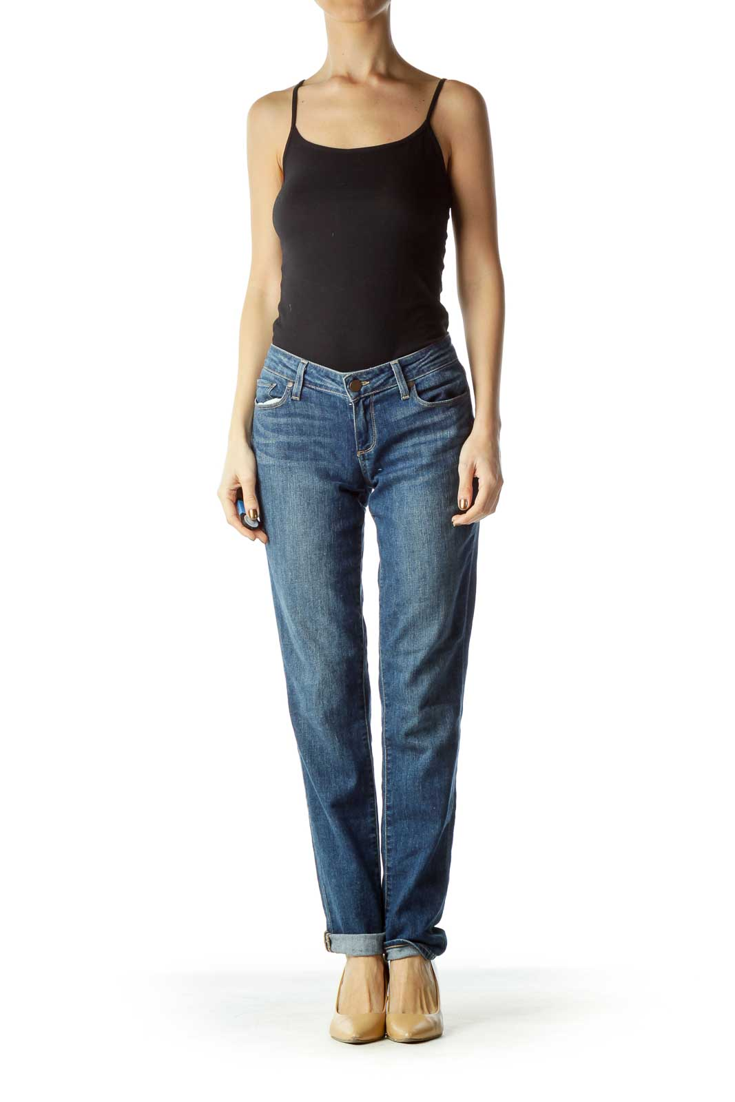 Navy Zipper-Fly Straight-Leg Jeans