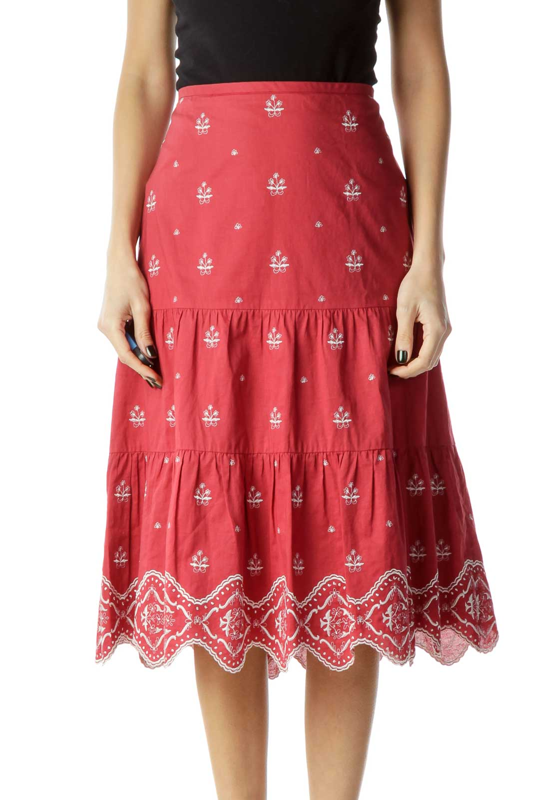 Red White Pleated Embroidered Skirt