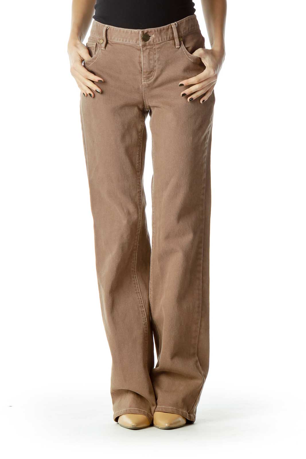 Brown Denim Flared Jeans