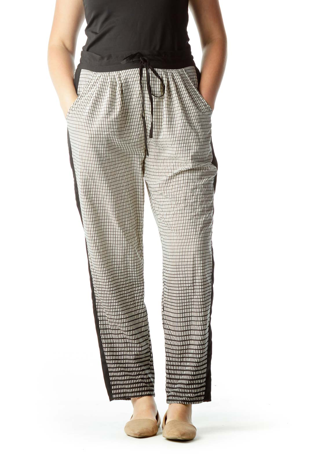 Black Cream Geometric Print Pants