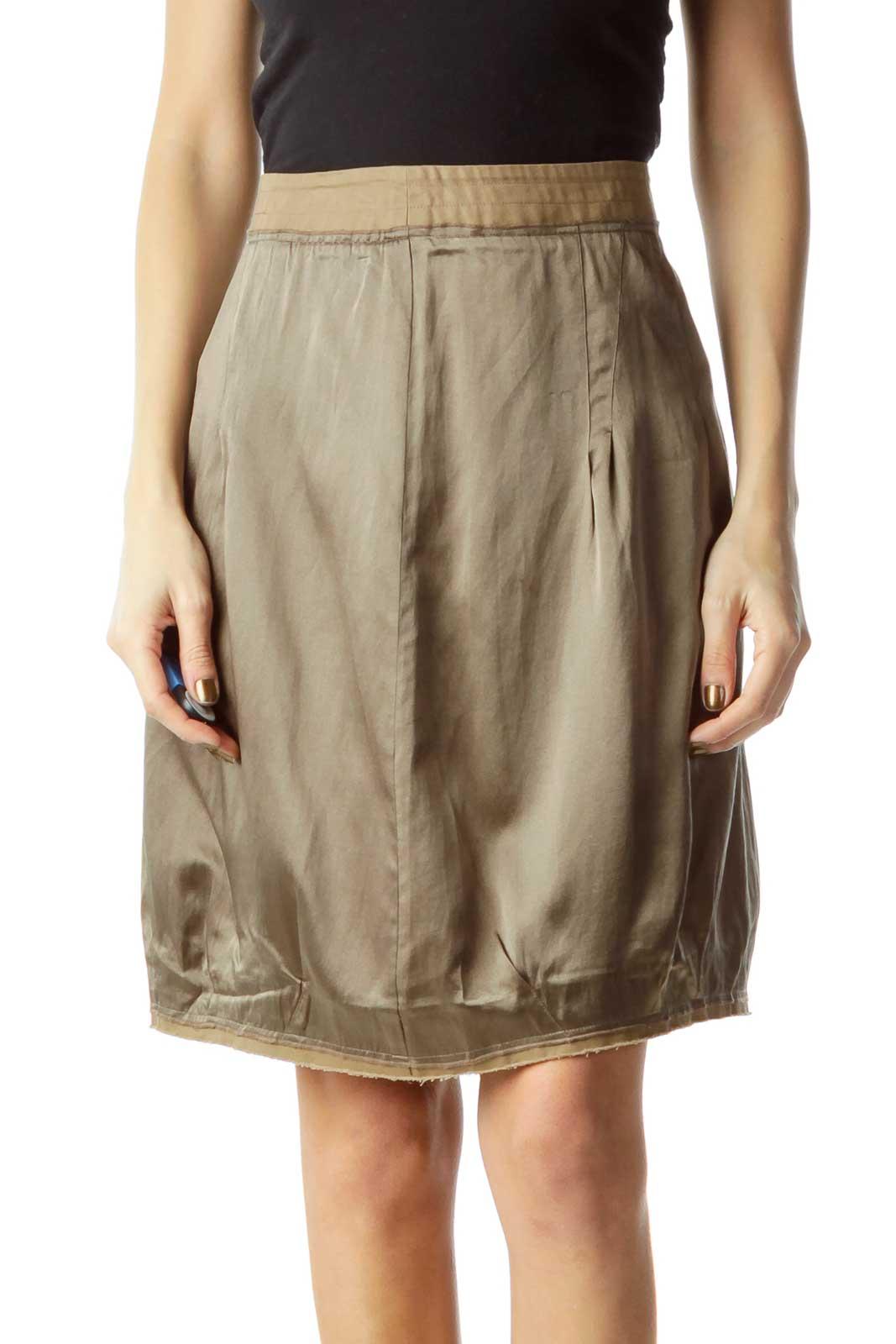 Green Silk Mini Skirt