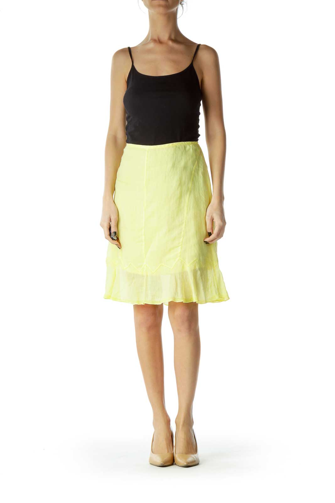 Yellow Flared A-Line Skirt