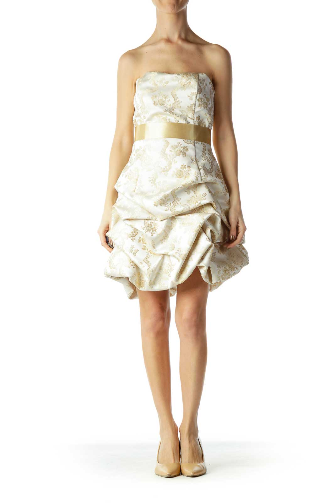 Gold Floral Print Pouf Cocktail Dress