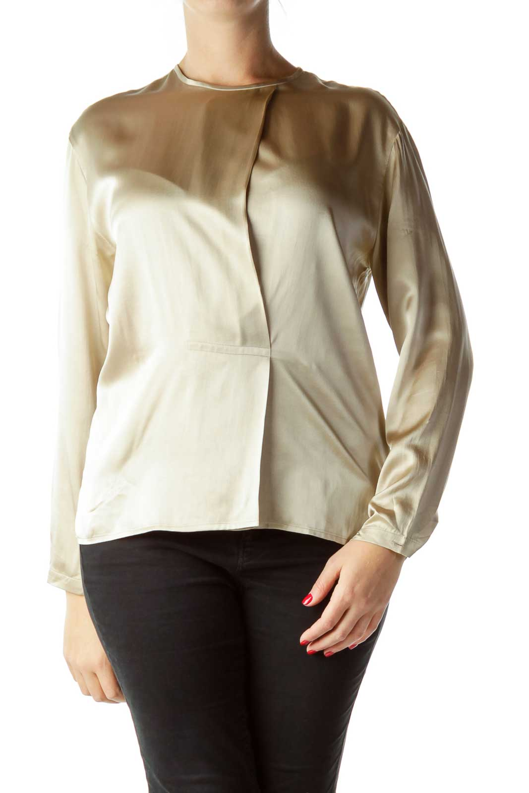 Gold Long Sleeve Silk Blouse