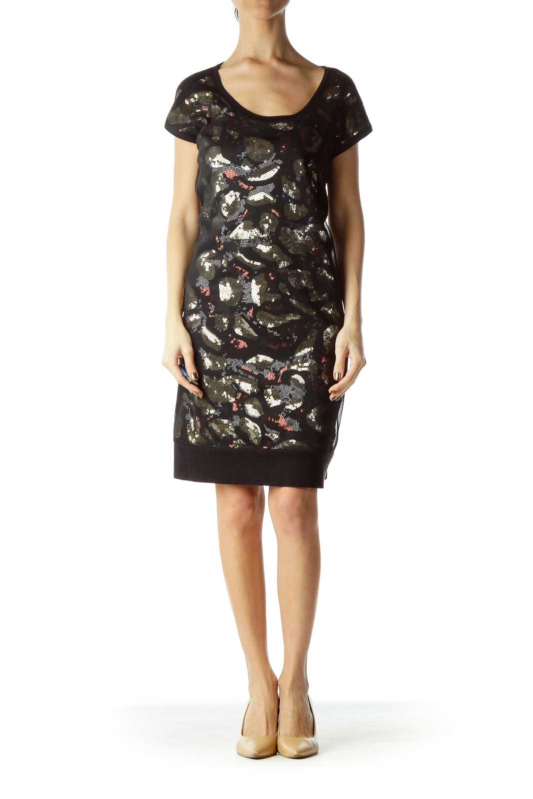Black Brown Sequined Sheer Dress