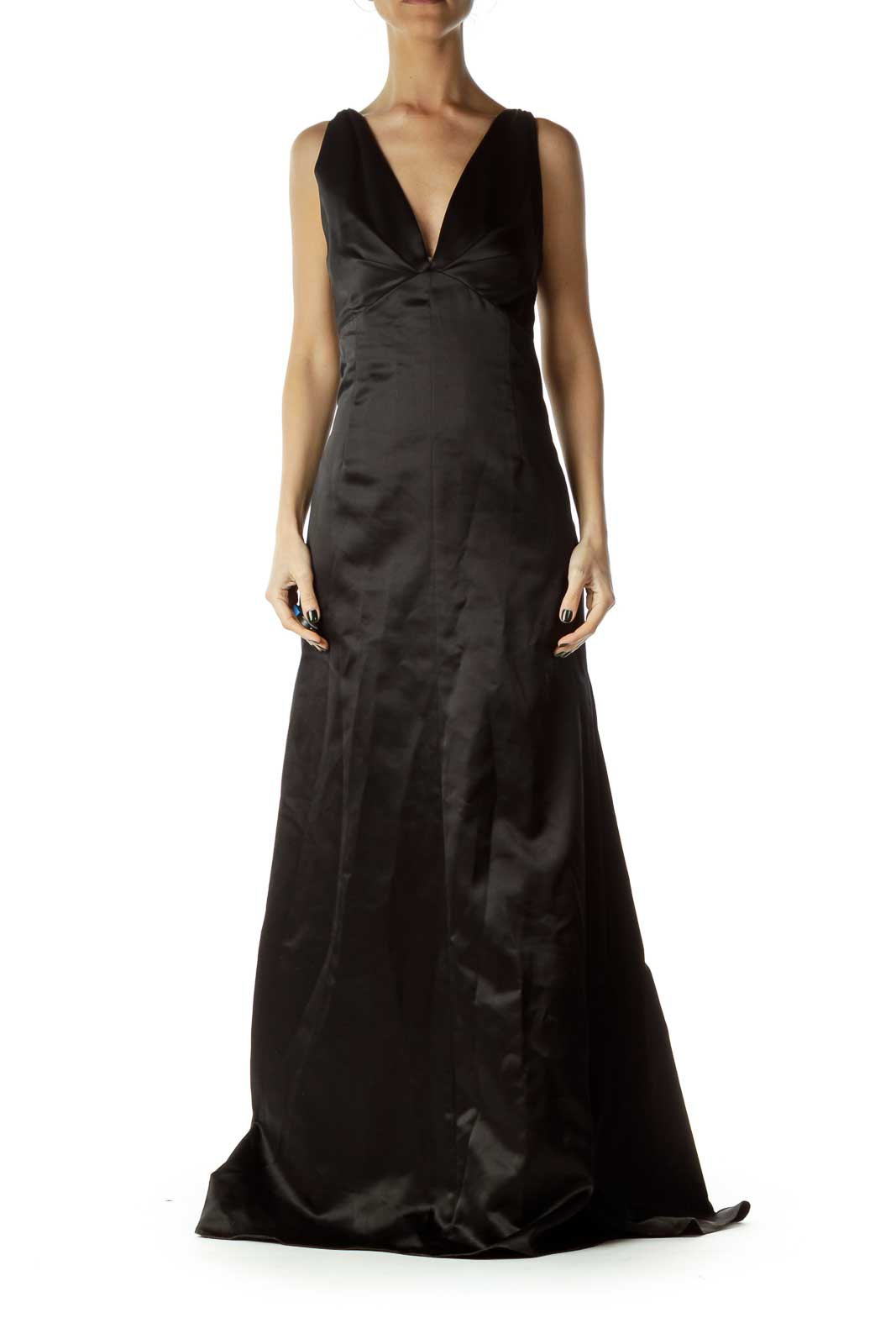Black V-Neck Trumpet Evening Dress