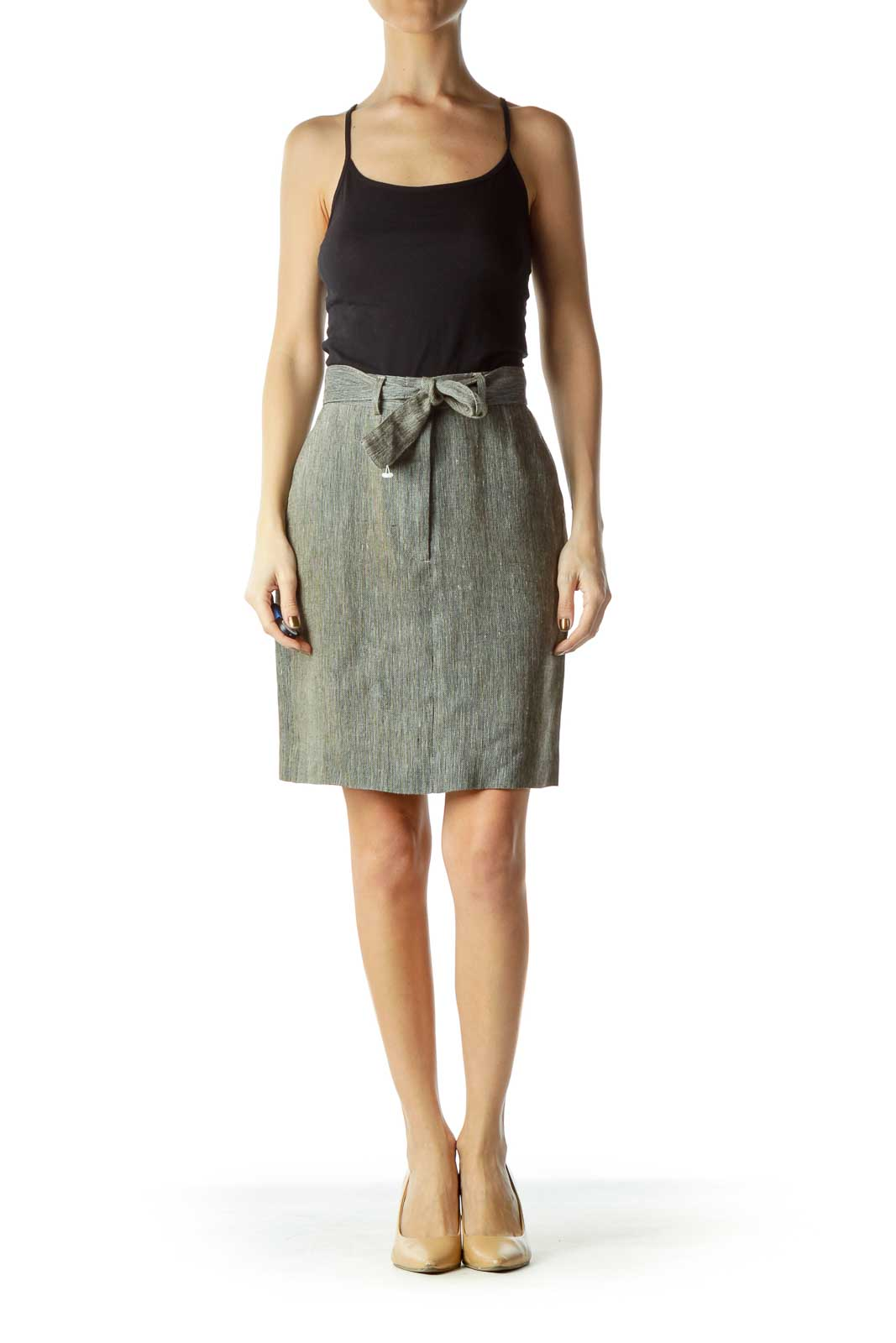 Gray Pocketed Zipper-Fly Pencil Skirt