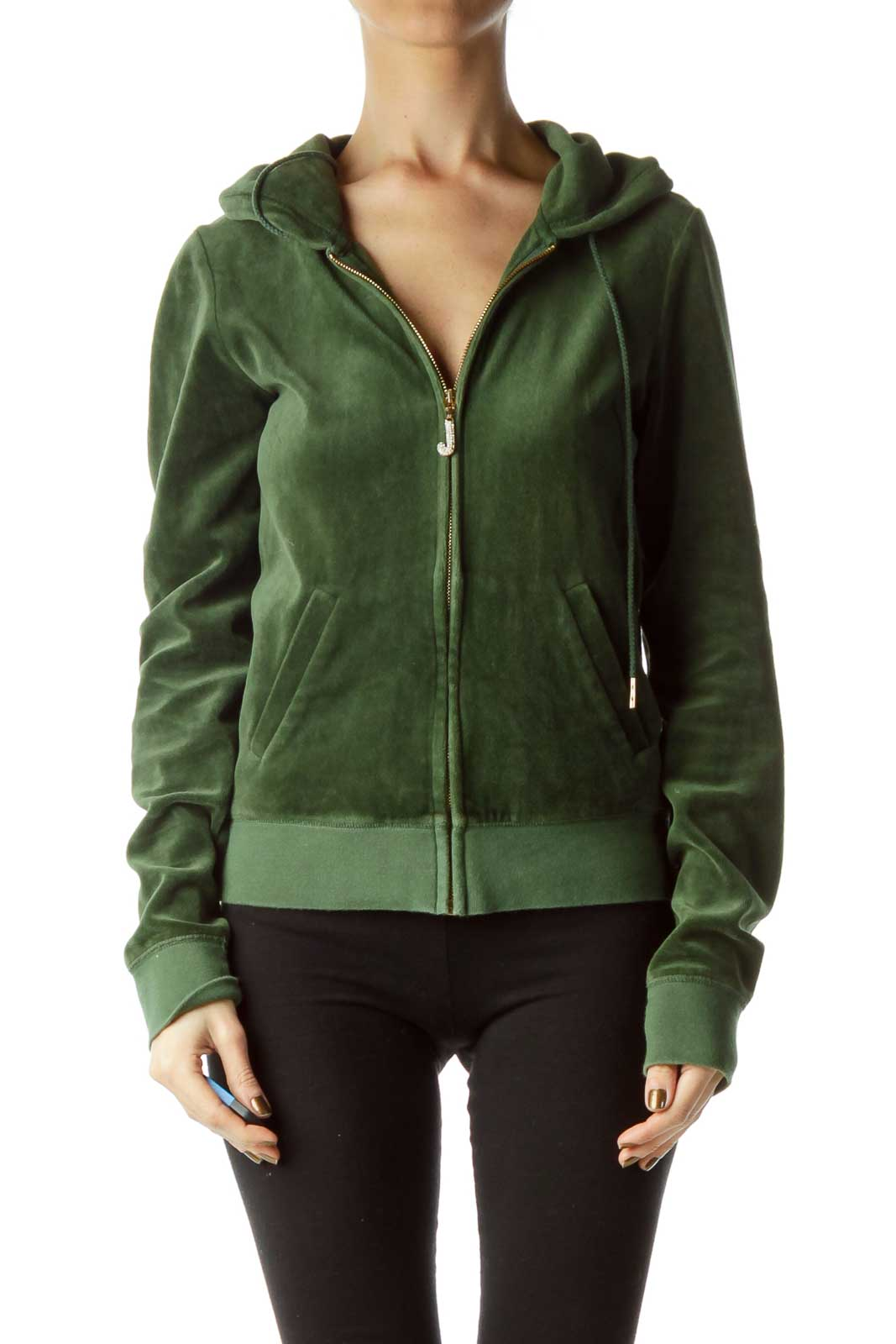Green Hooded Velvet Full Zip Sweatshirt