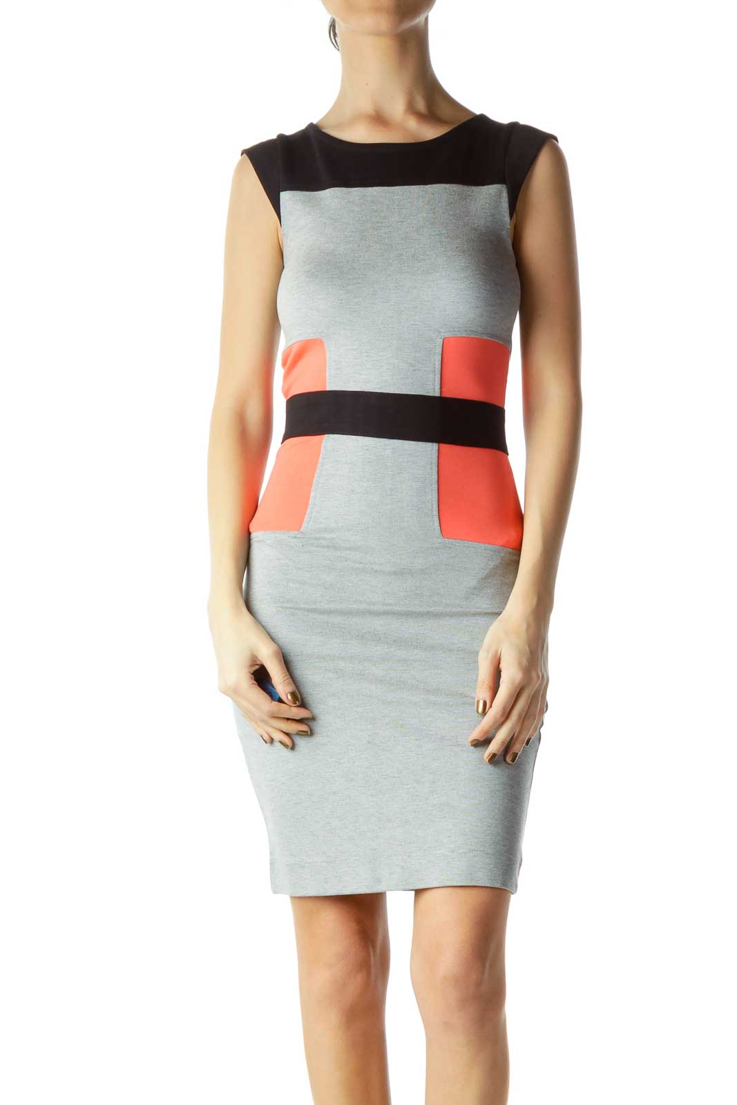 Multicolor Fitted Work Dress