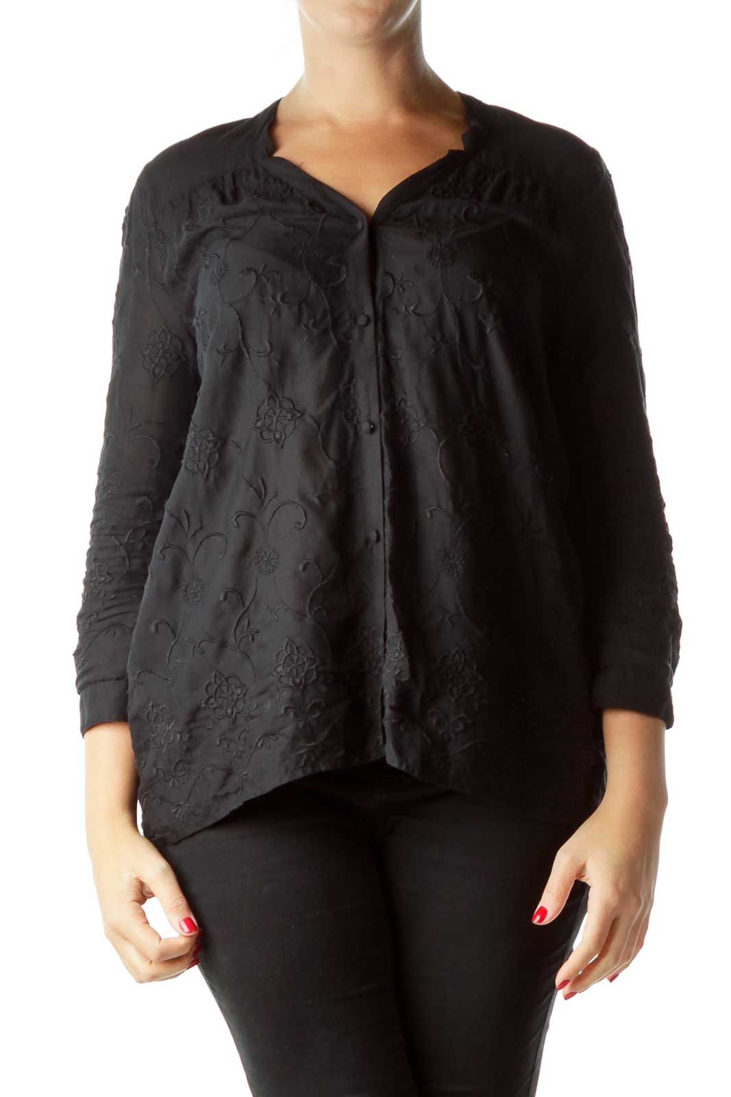Black Embroidered  Buttoned Shirt
