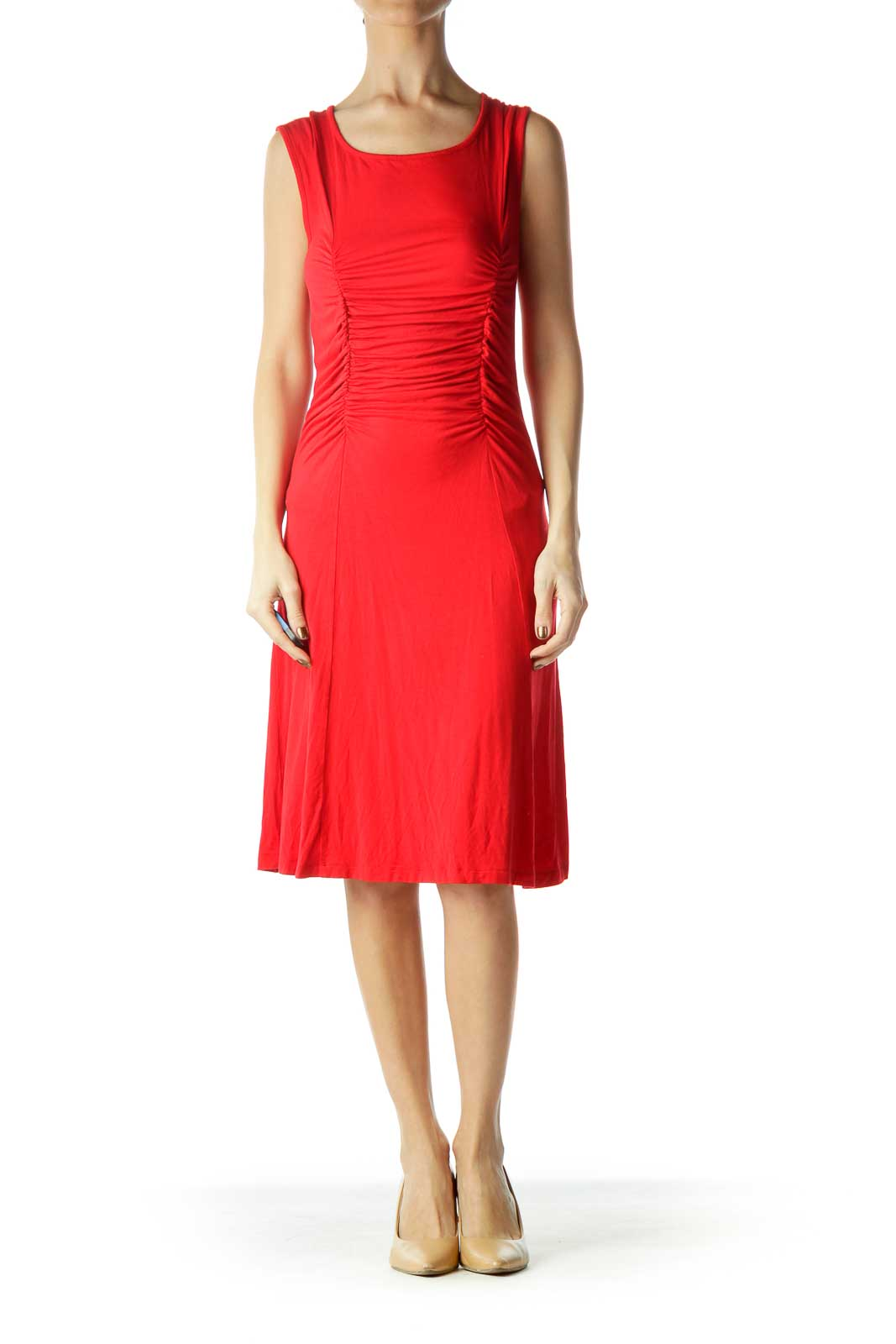 Red Sleeveless Ruched Jersey Dress
