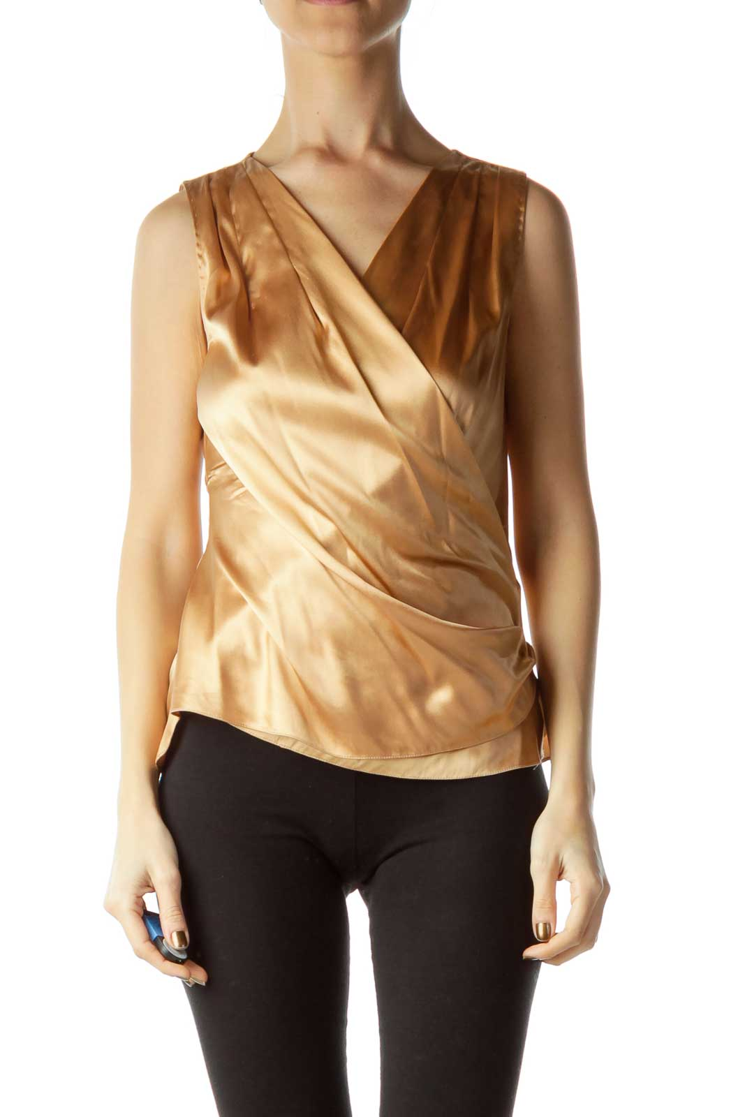 Gold Sleeveless Wrap Blouse