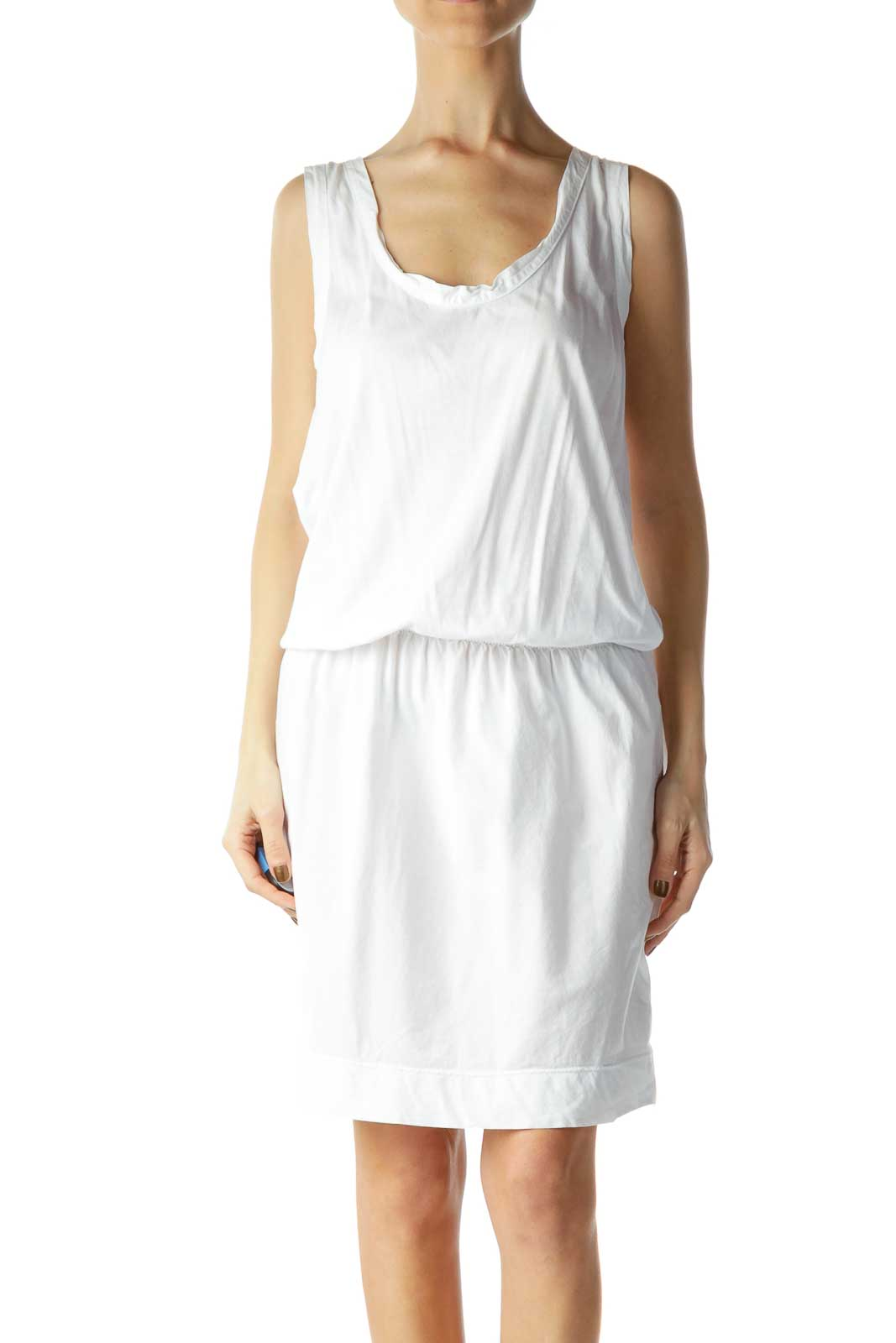 White Scrunched Day Dress