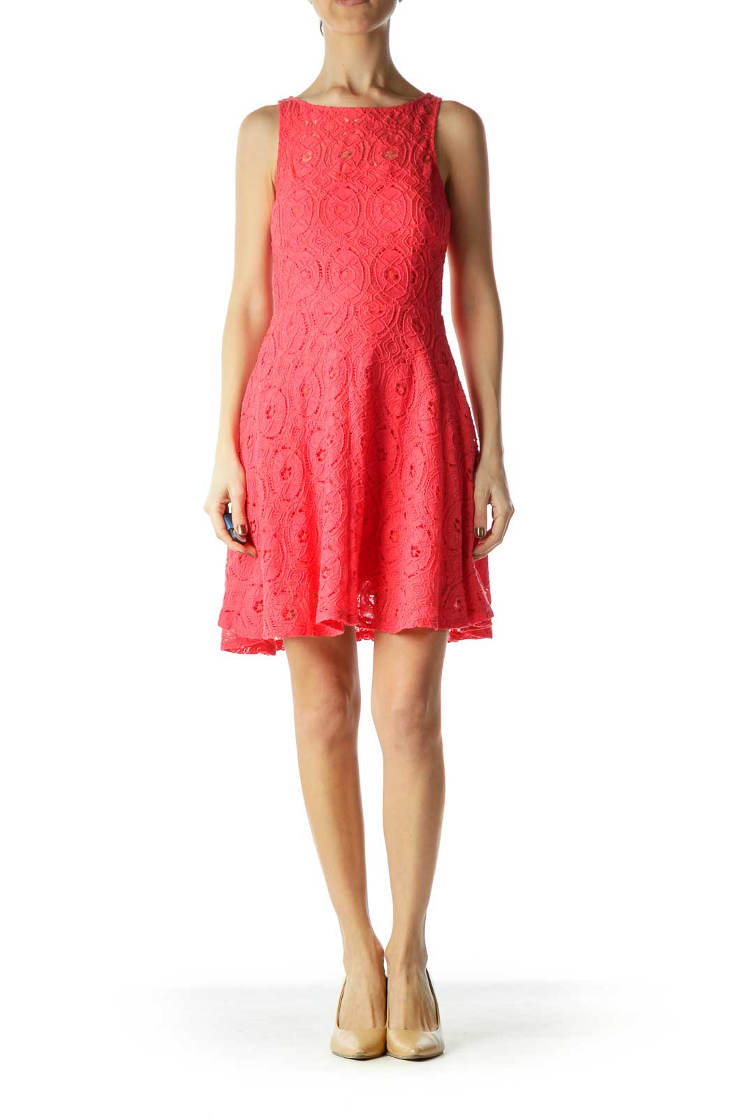 Pink Lace A-line Day Dress
