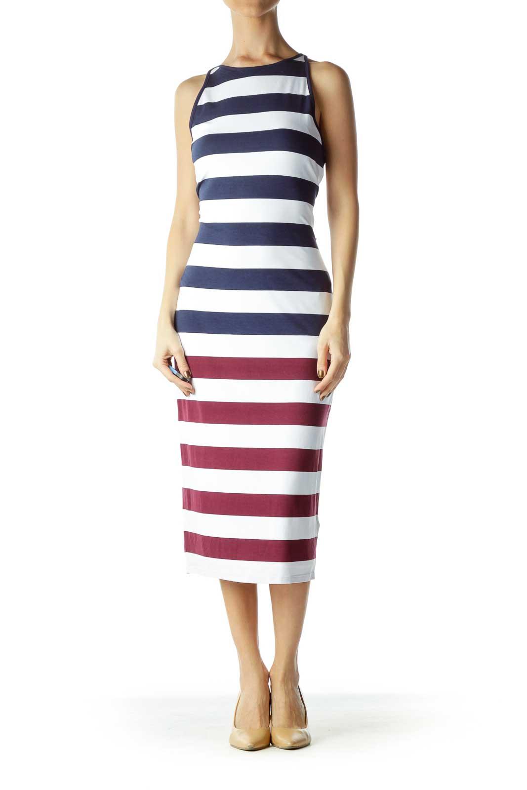 Burgundy Blue Striped Maxi Dress