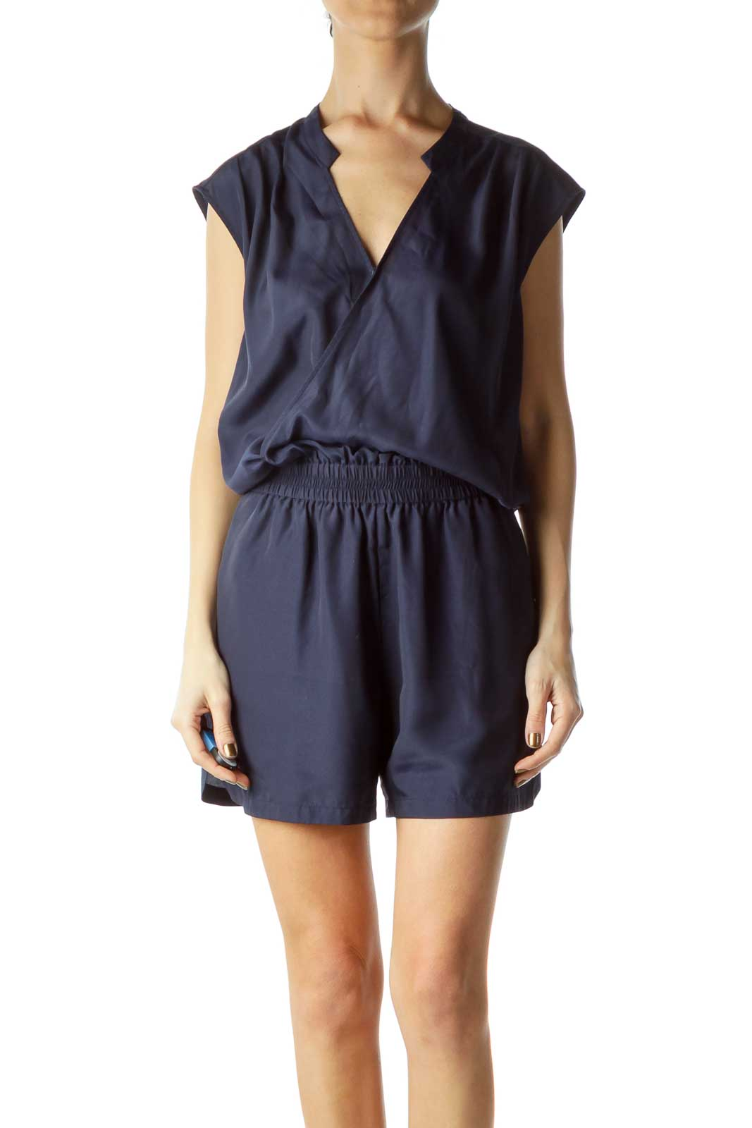 Navy Short Sleeve Romper