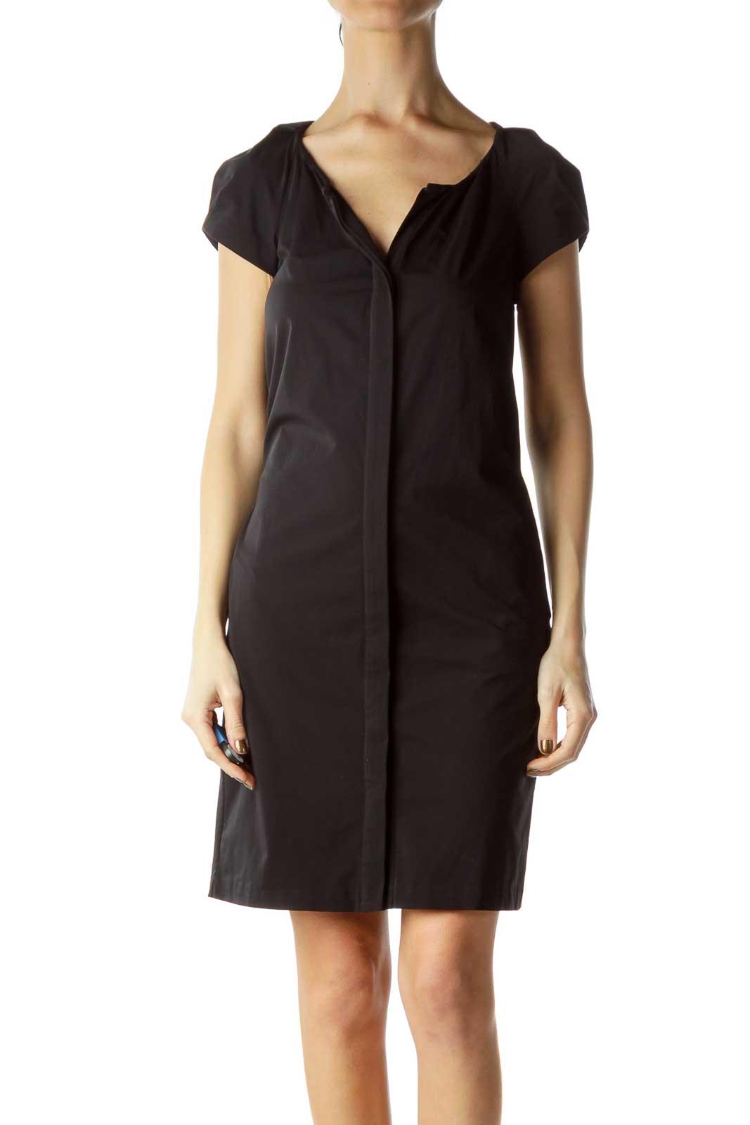 Black Short-Sleeve Pocketed Shirt Dress