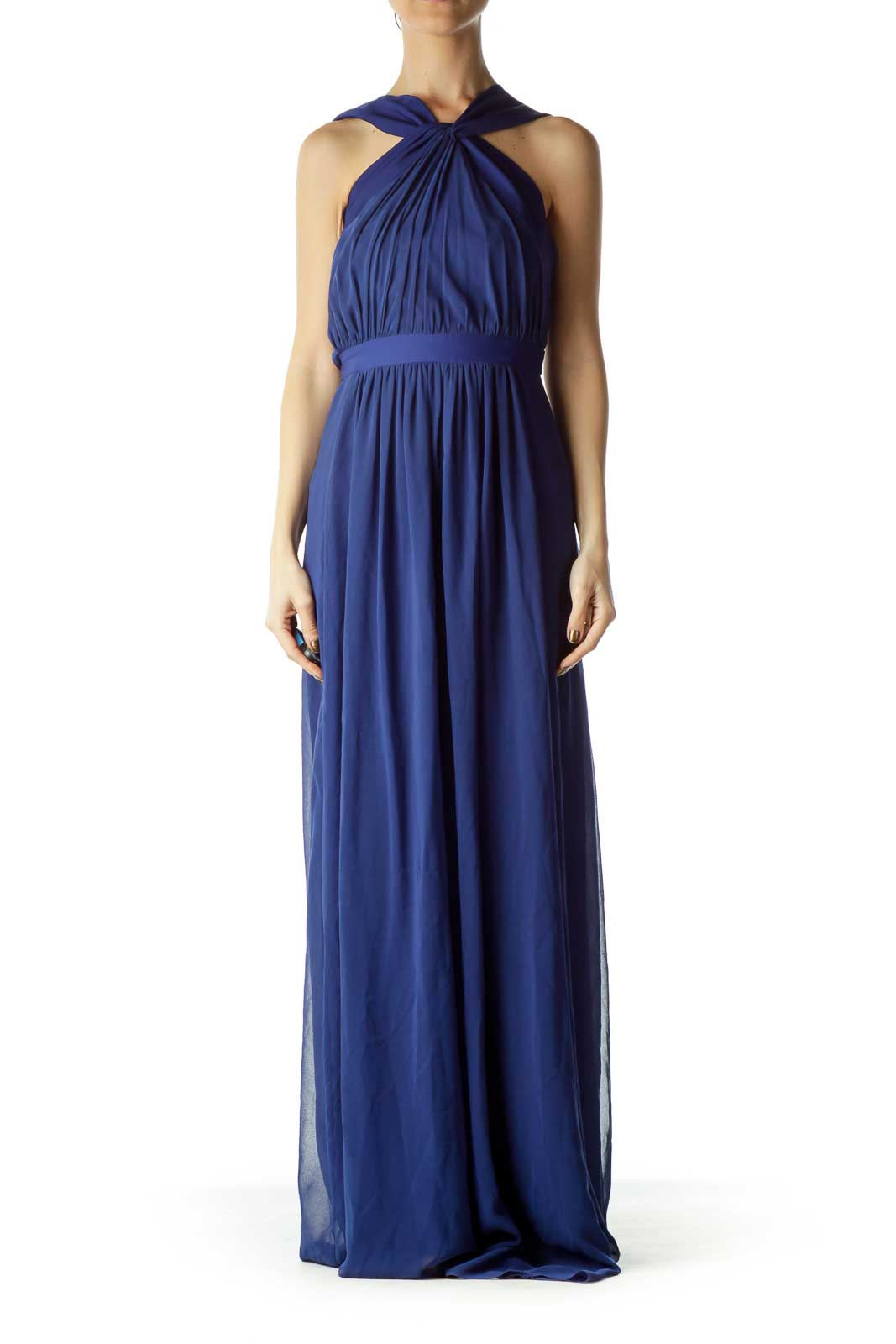 Blue Scrunched Sheer Evening Dress