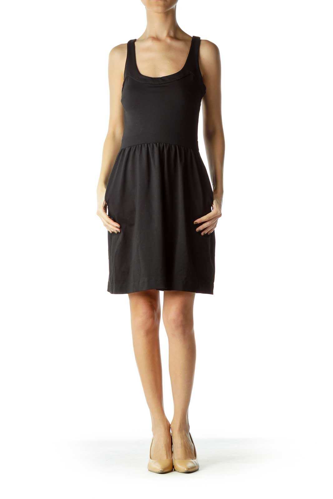Black Sleeveless Fitted Day Dress