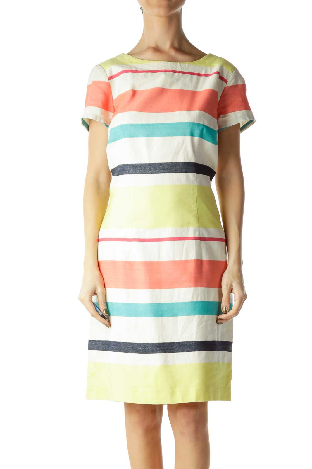 Multicolor Striped Day Shift Dress