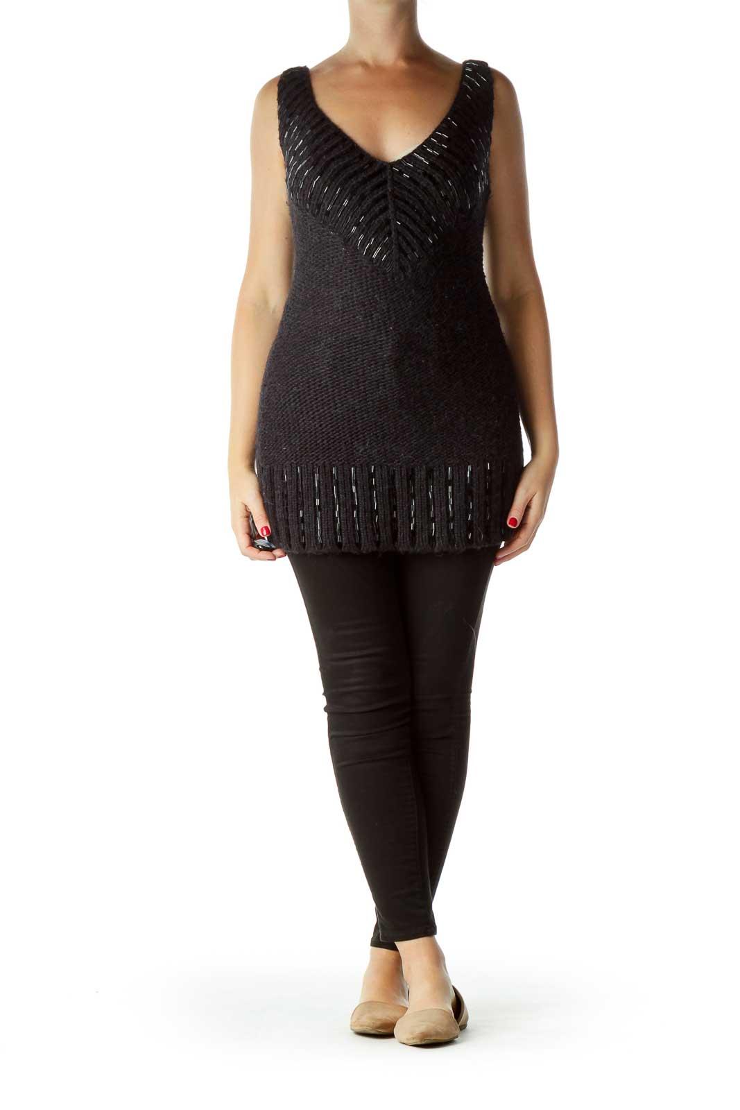 Black Sleeveless Beaded Sweater Dress