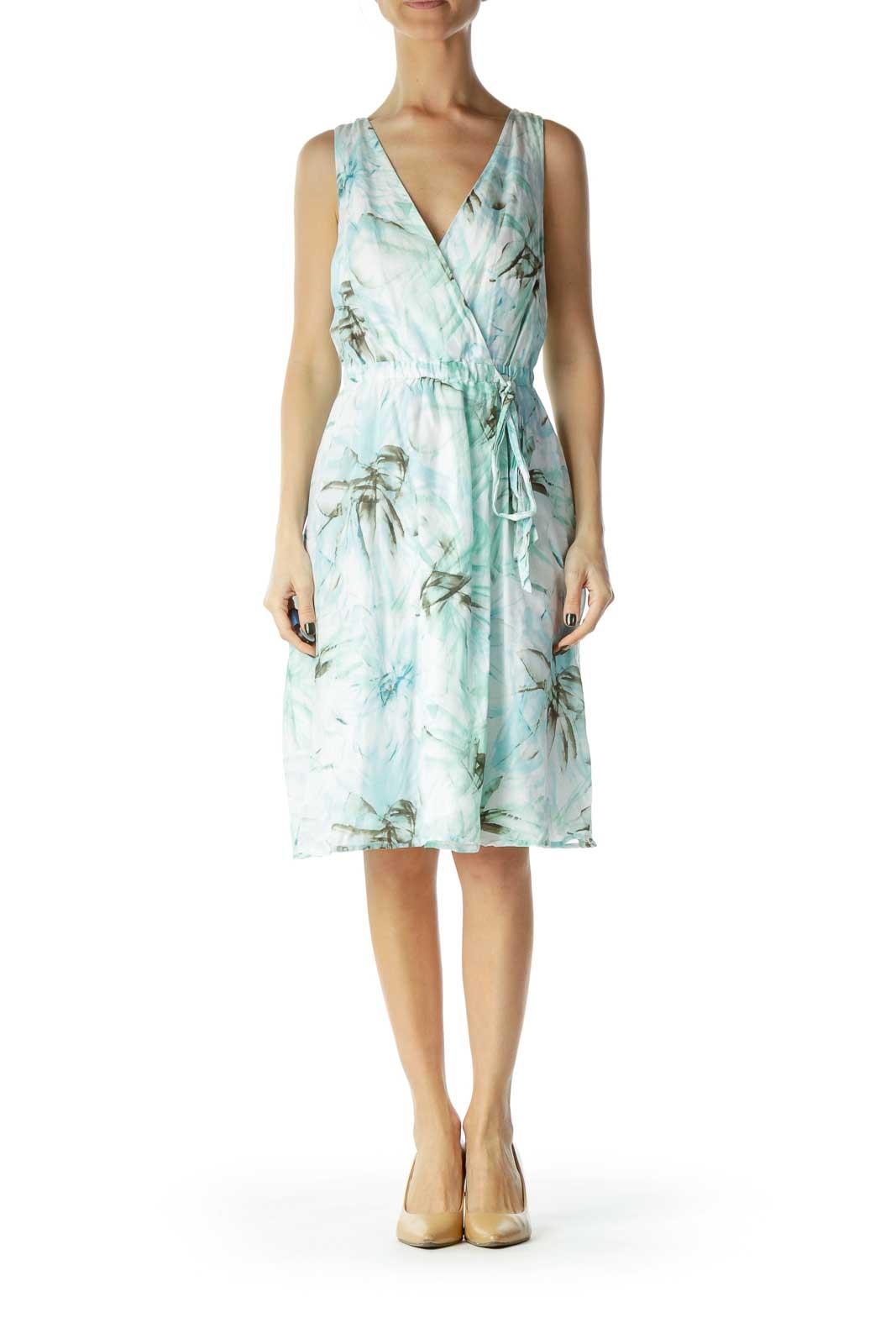 Green Print Empire Waist Day Dress