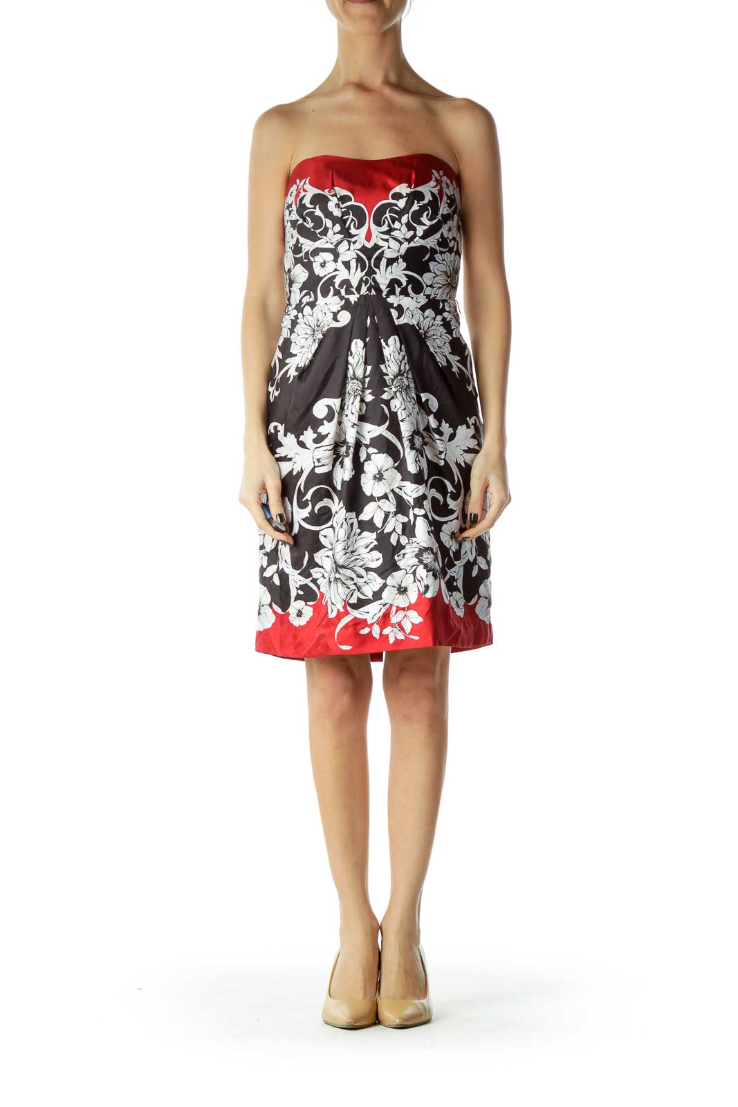 Red Black Floral Cocktail Dress