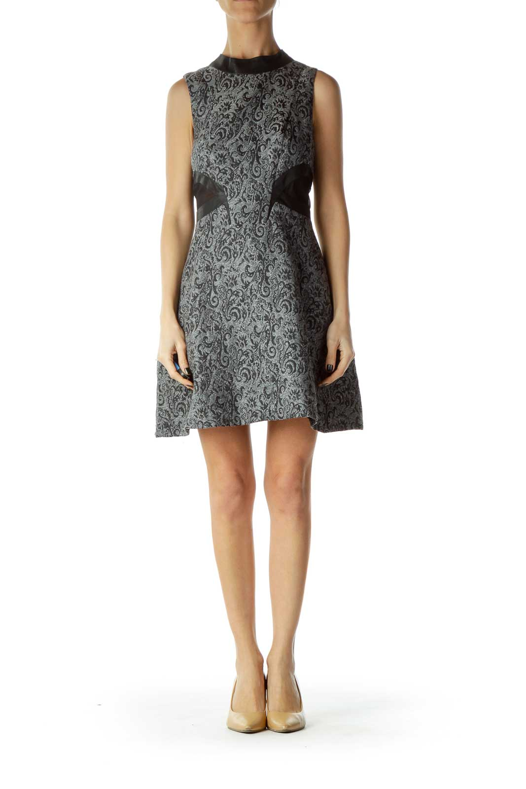 Gray Metallic Printed Cocktail Dress