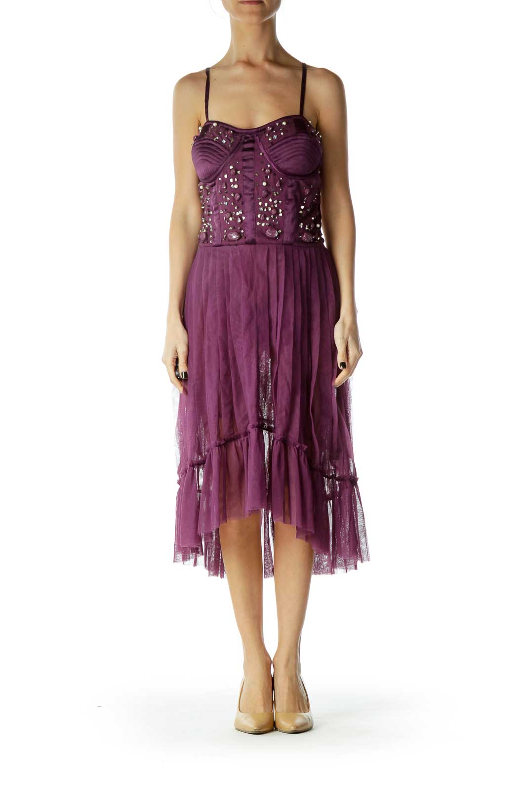 Purple Corset Sequined Cocktail Dress