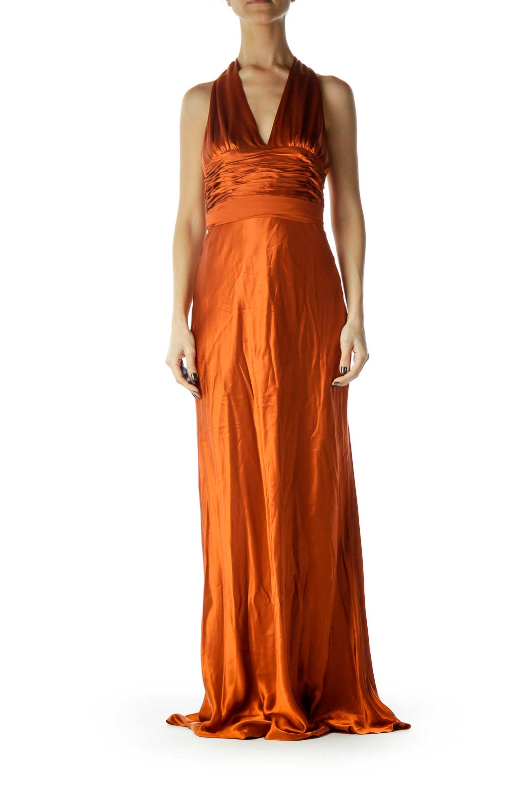 Orange Silk Evening Dress