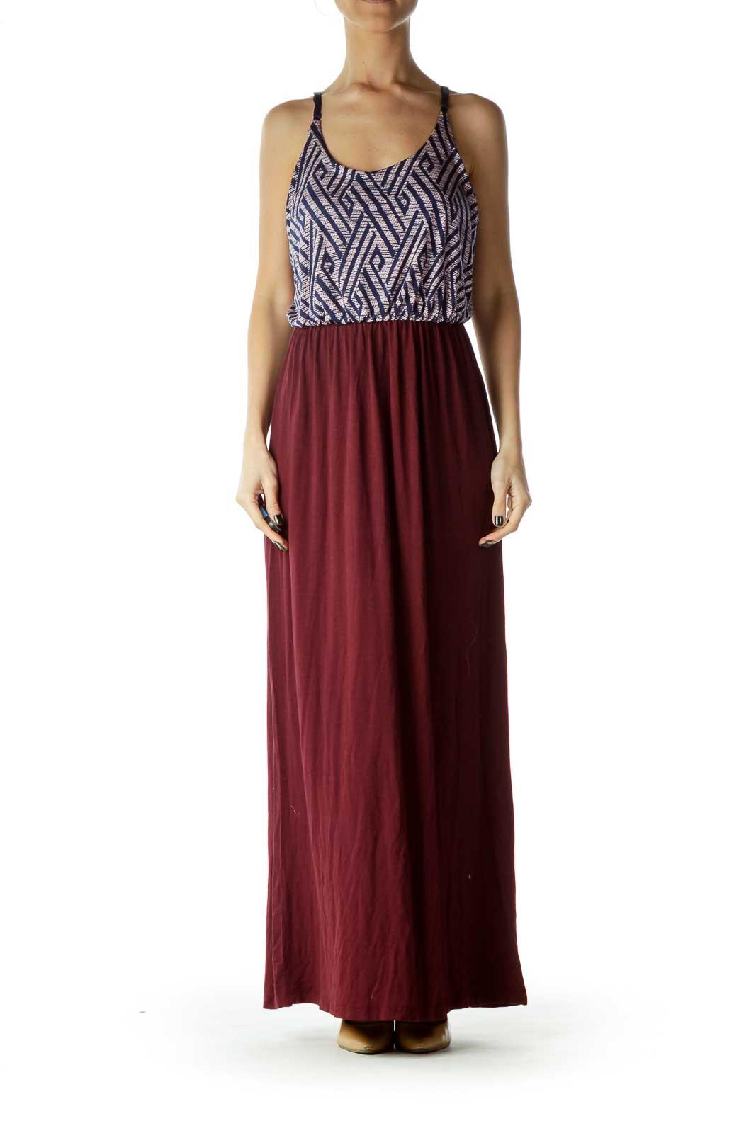 Purple Black Print Top Maxi Dress