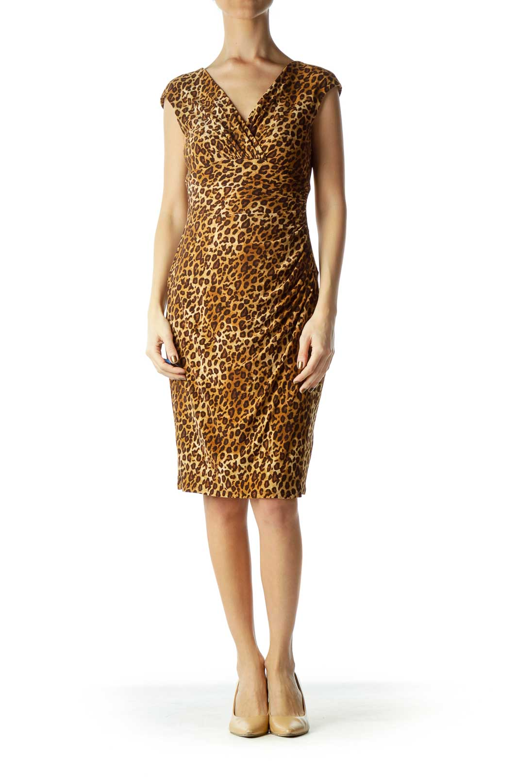 Leopard Scrunched Wrap Evening Dress