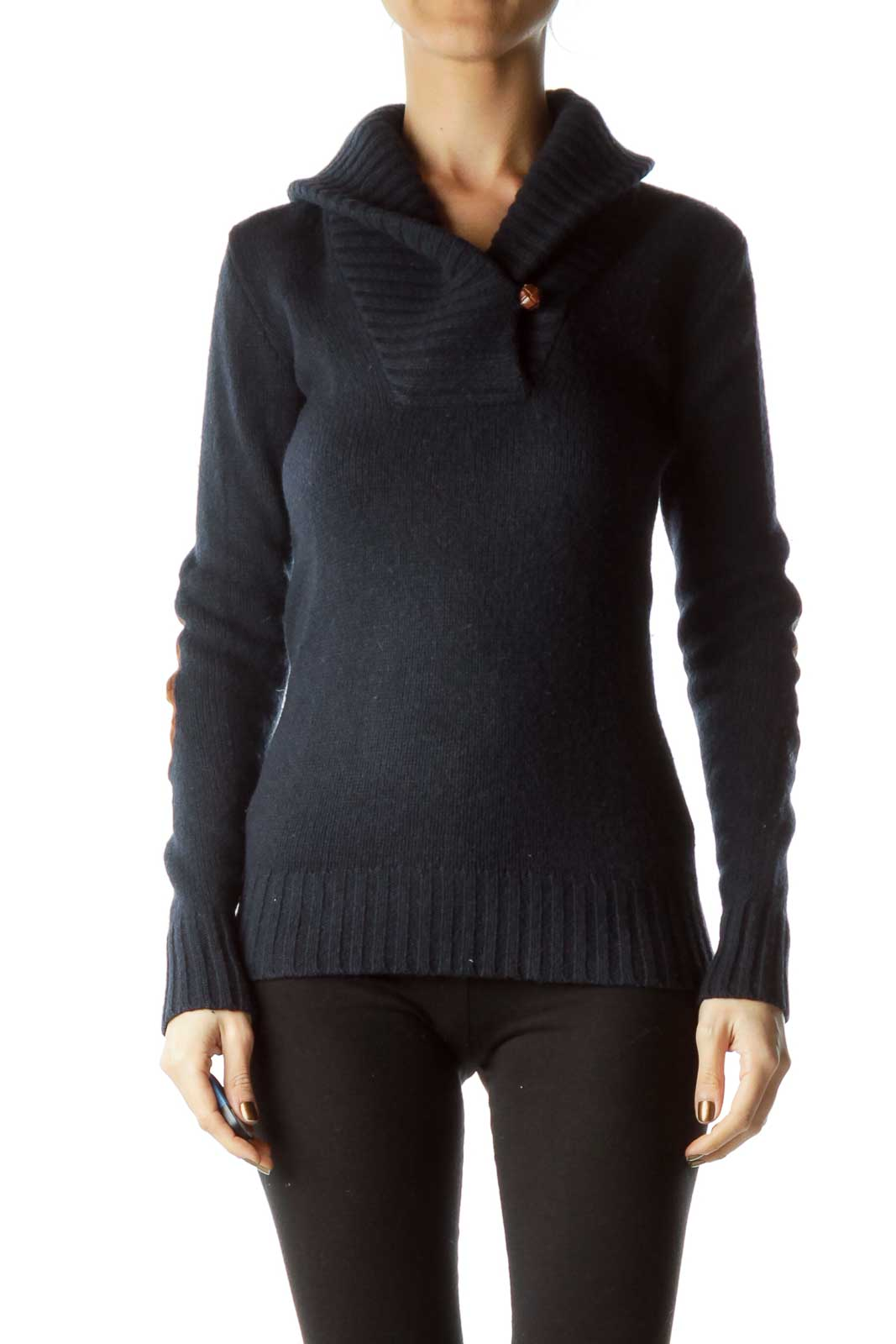 Navy Brown Elbow-Padded Sweater