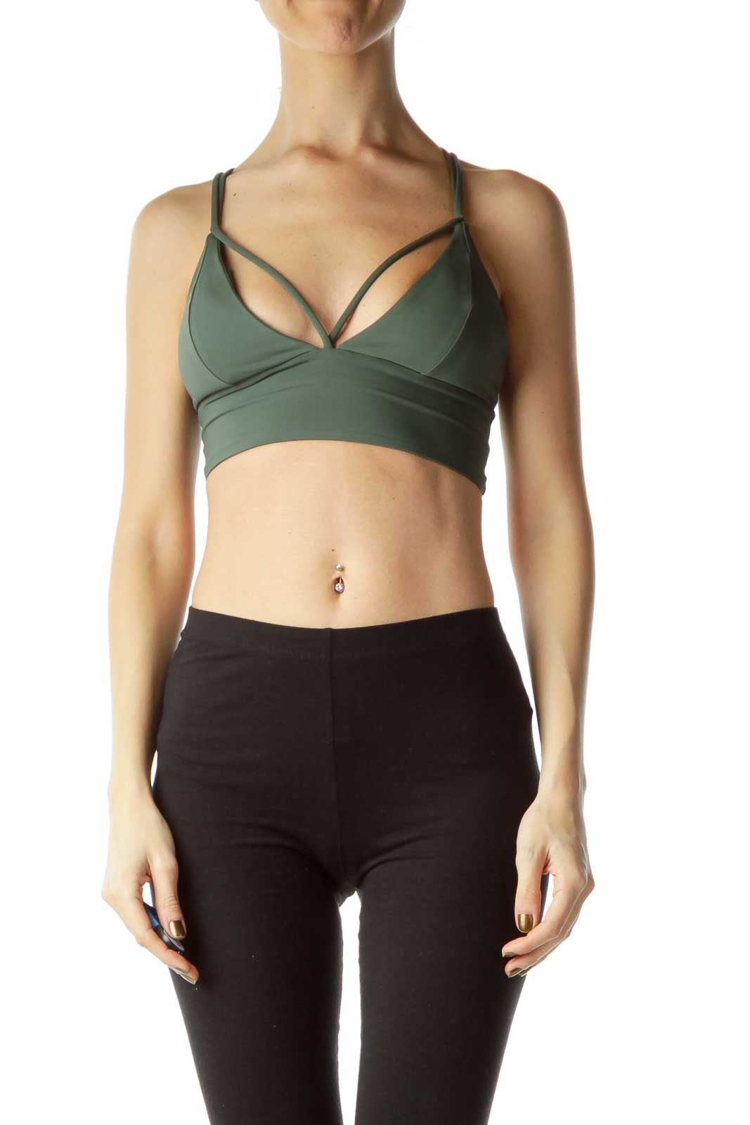 Green Strappy Sports Bra