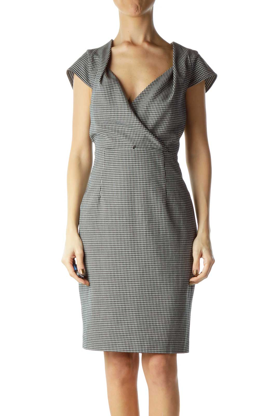 Black White Wrap Houndstooth Work Dress