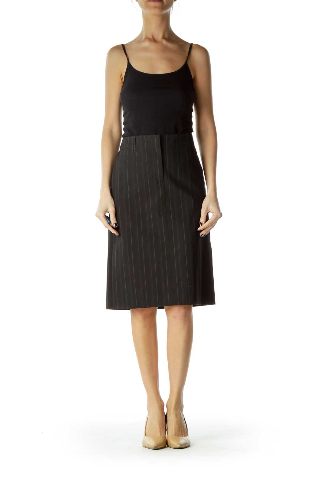 Black Green Pinstripe Pencil Skirt