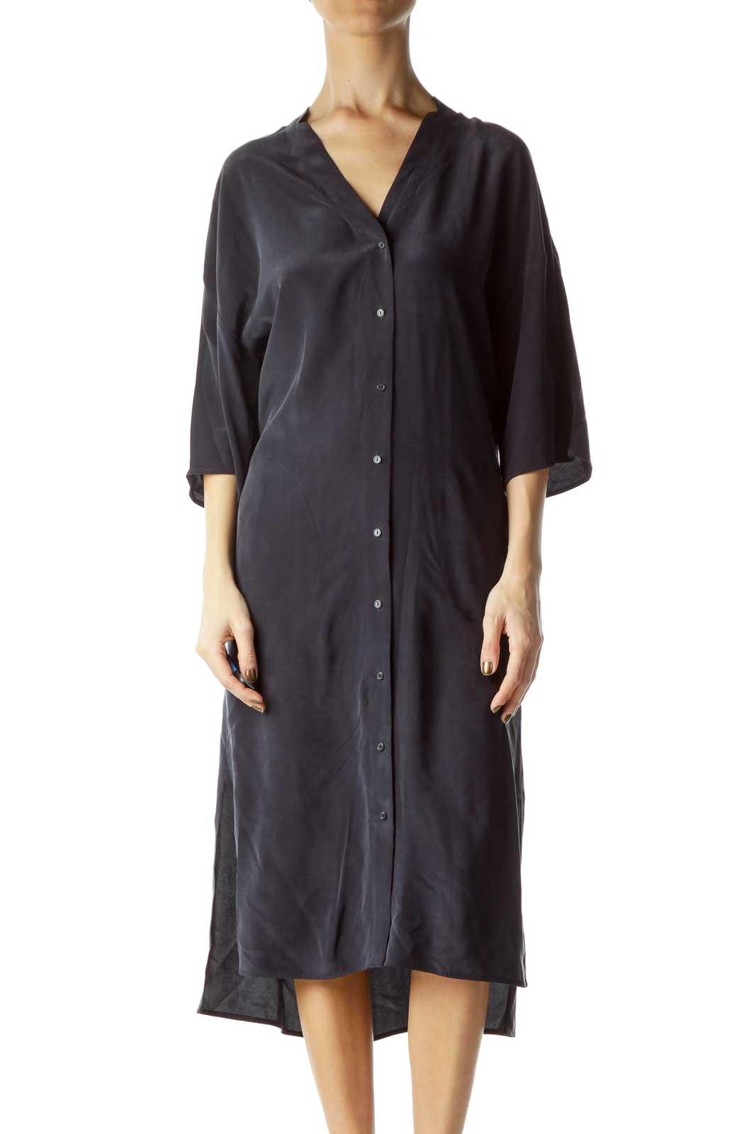 Navy Silk Pocketed Shirt Dress