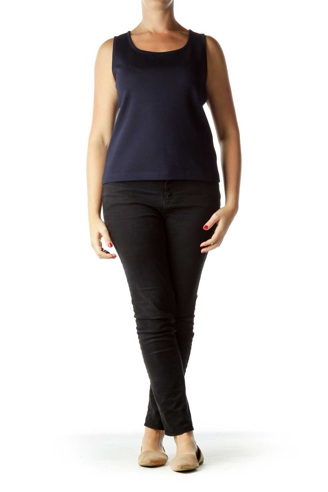 Navy Wool Loose Top