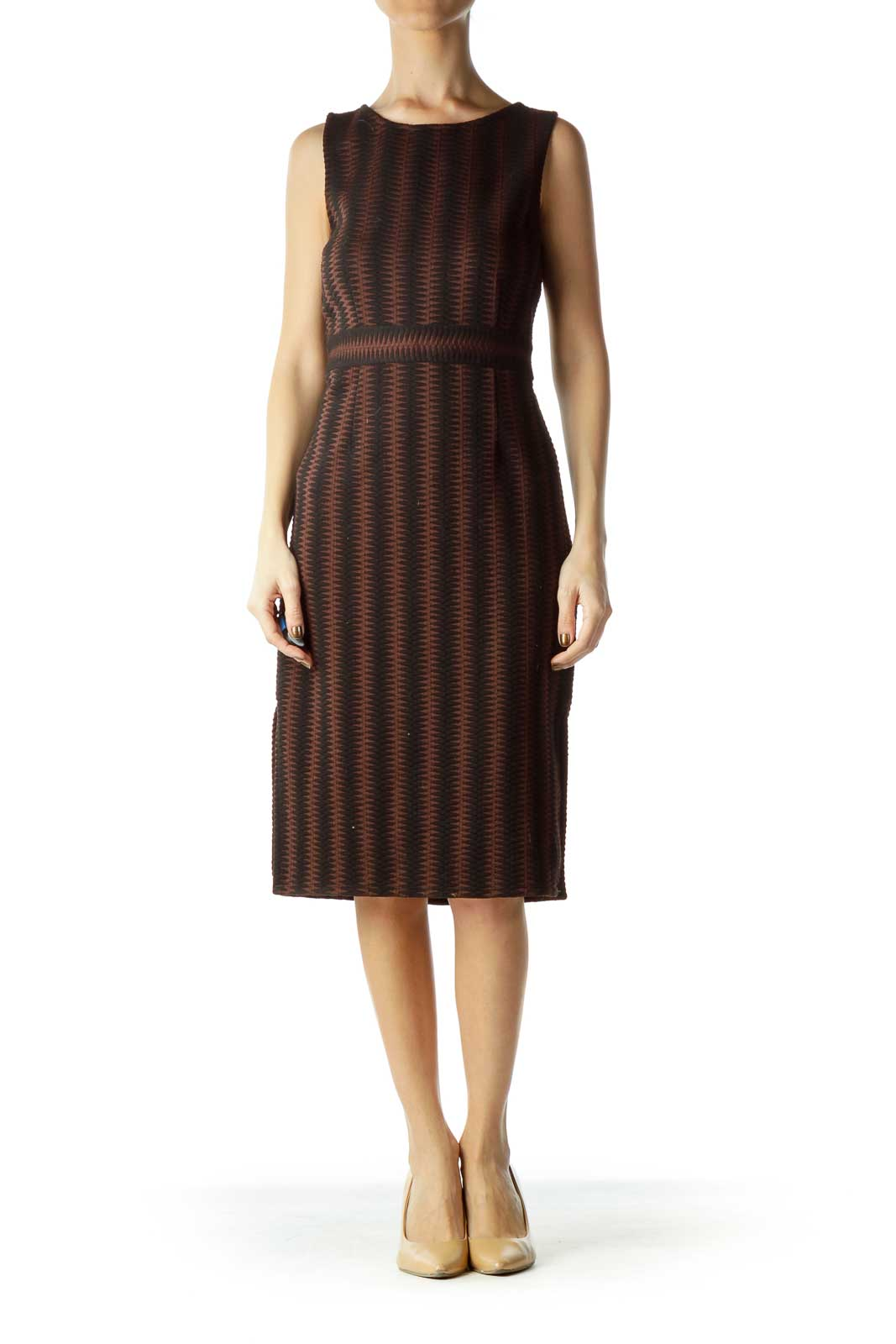 Black Brown Zig-zagged A-Line Work Dress