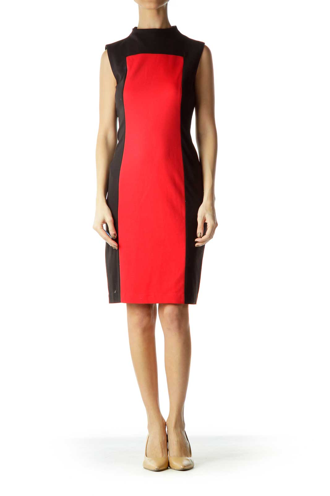 Red Black Sleeveless Colorblock Dress