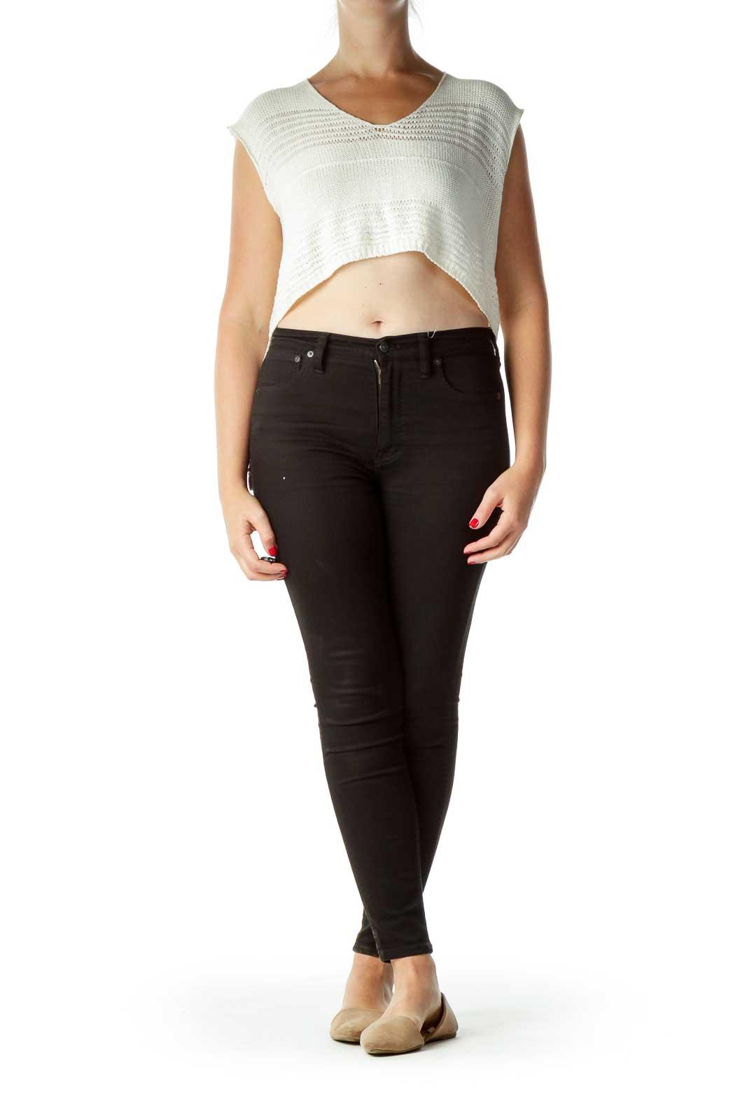 Cream One Size Asymmetric Vest