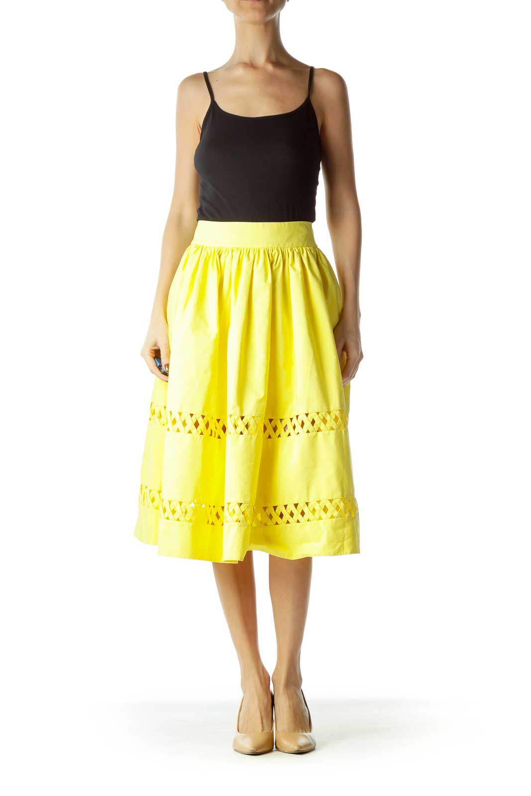 Yellow Flared Crossed Skirt