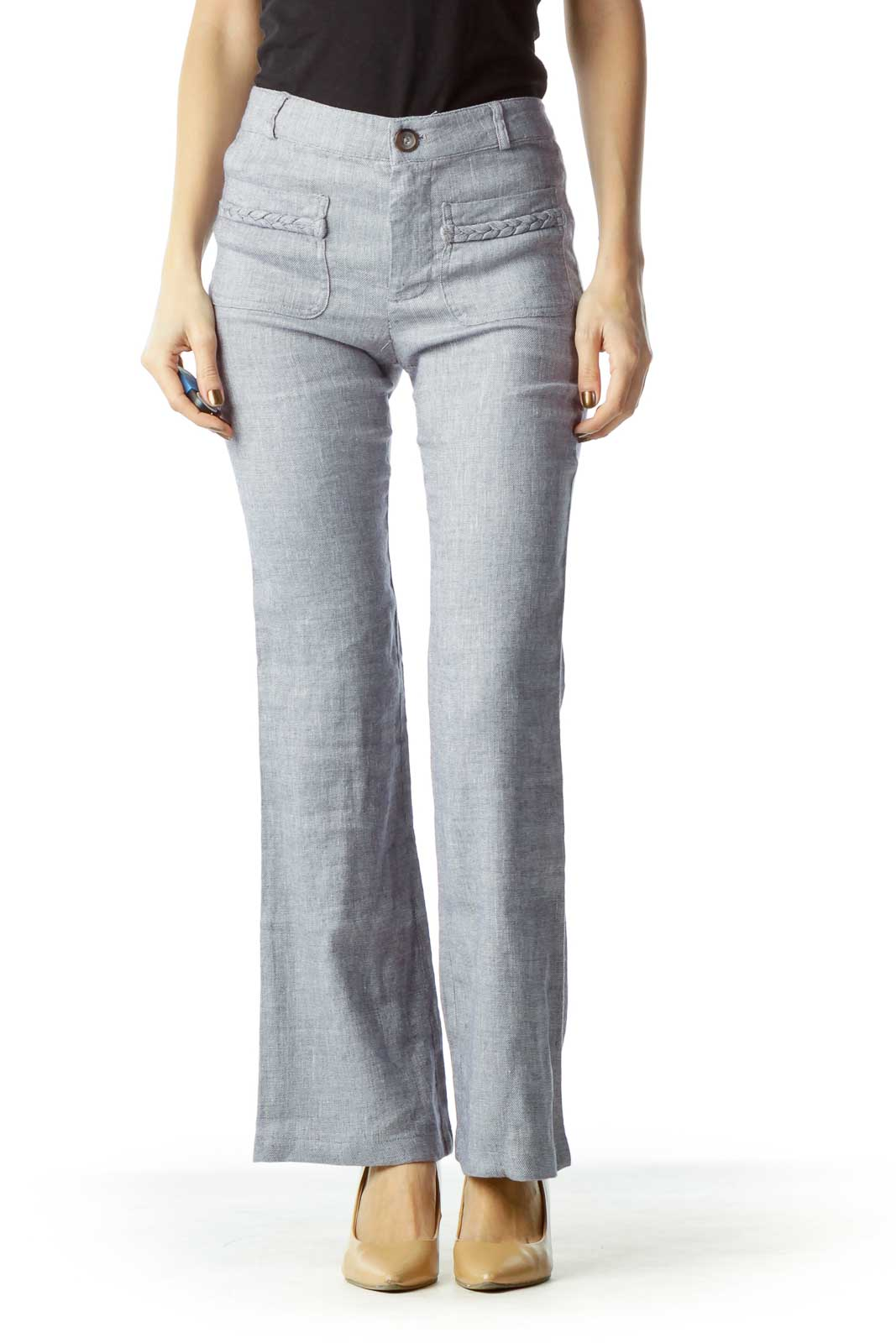 Blue Linen Tweed Straight Leg Pants