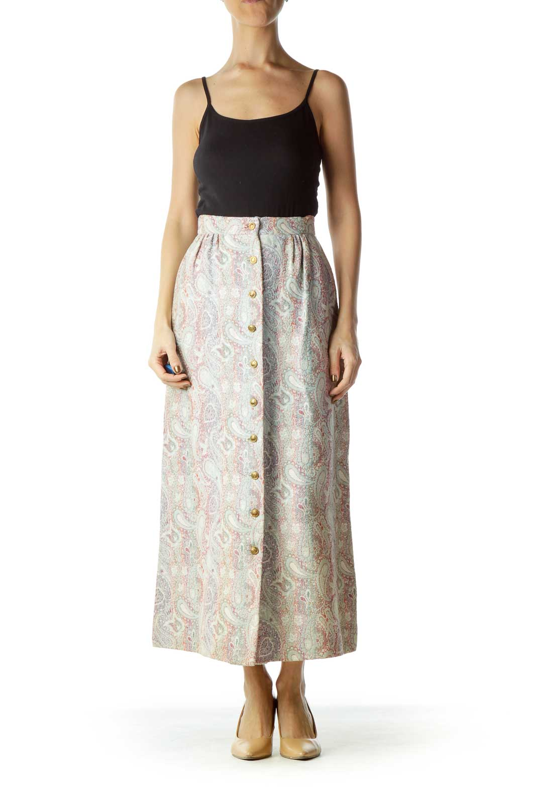 Beige Blue Embroidered Maxi Skirt