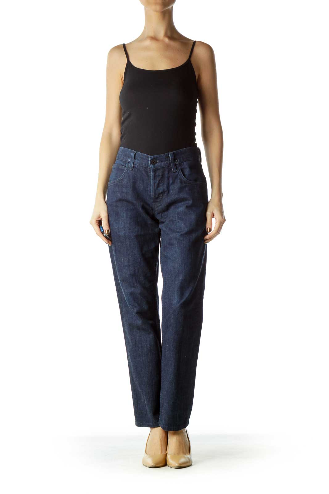 Navy Button-Fly Straight-Leg Jeans