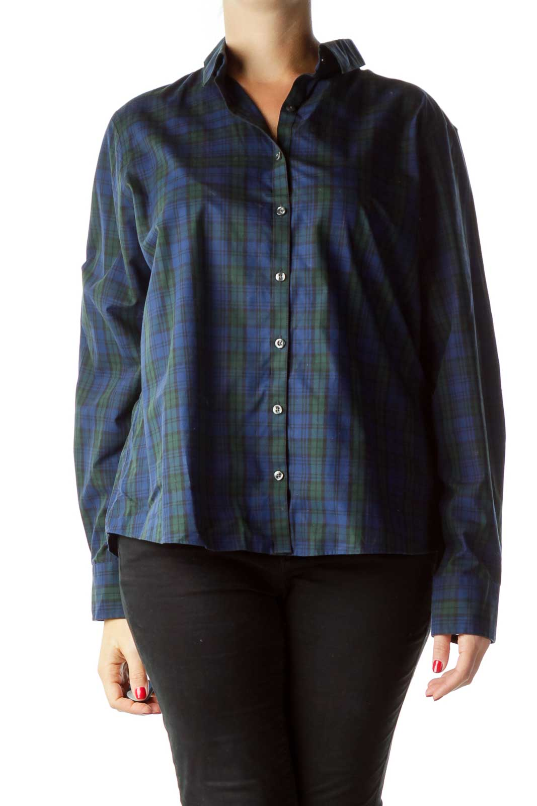 Blue Green Plaid Buttoned Shirt