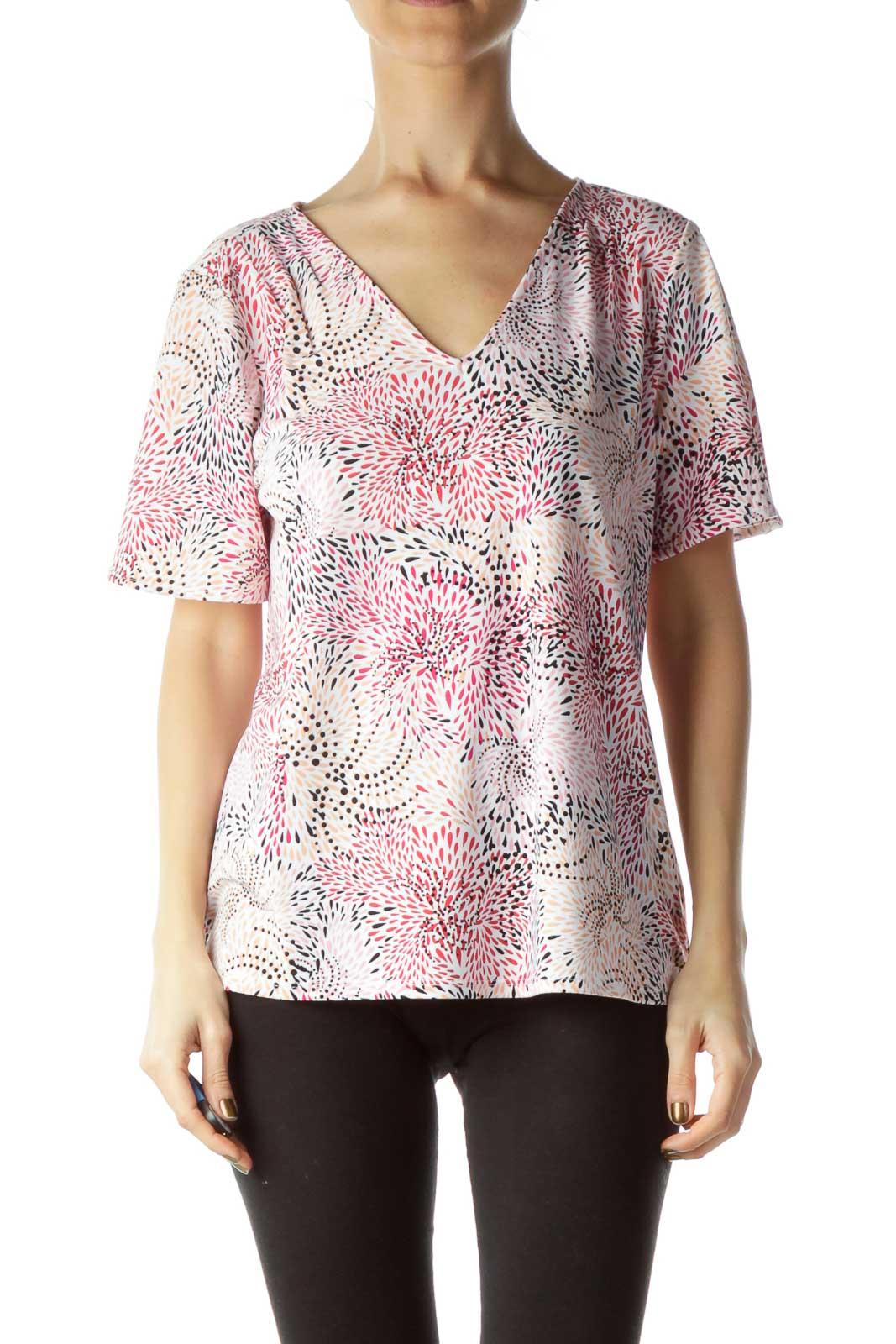 Pink Beige Printed T-Shirt