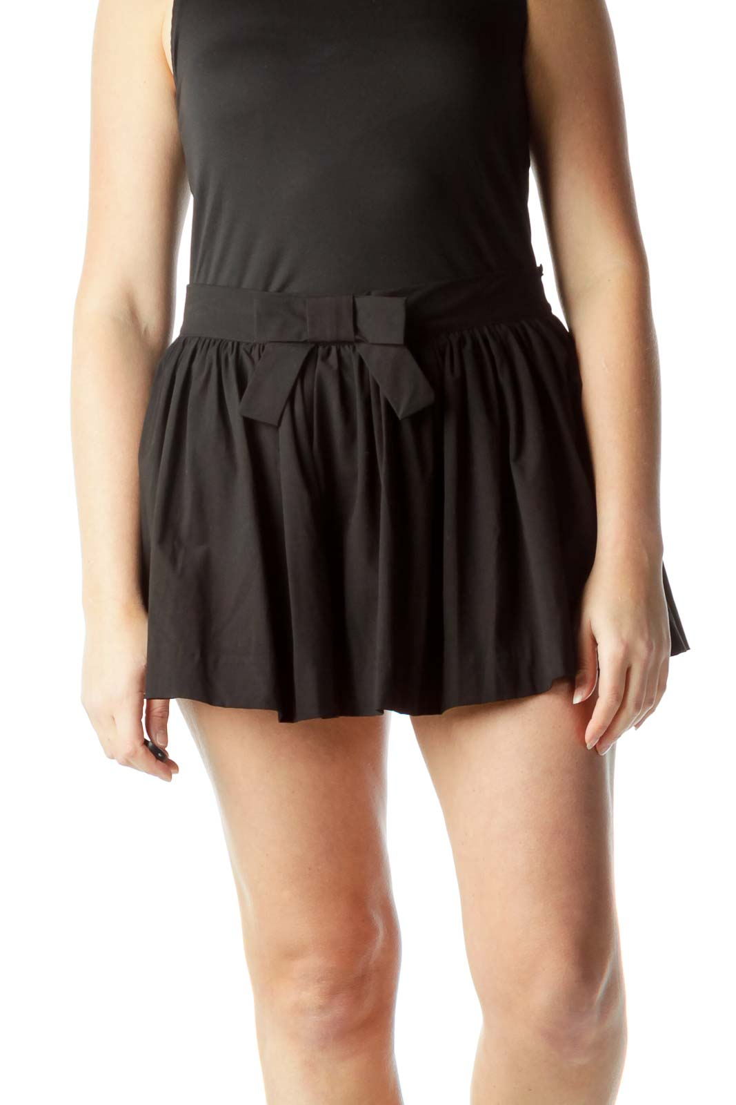 Black Flared Skirt with Front Bow Detail