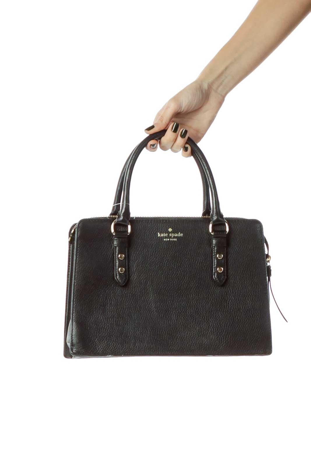 Black Rectangular Zippered Shoulder Bag