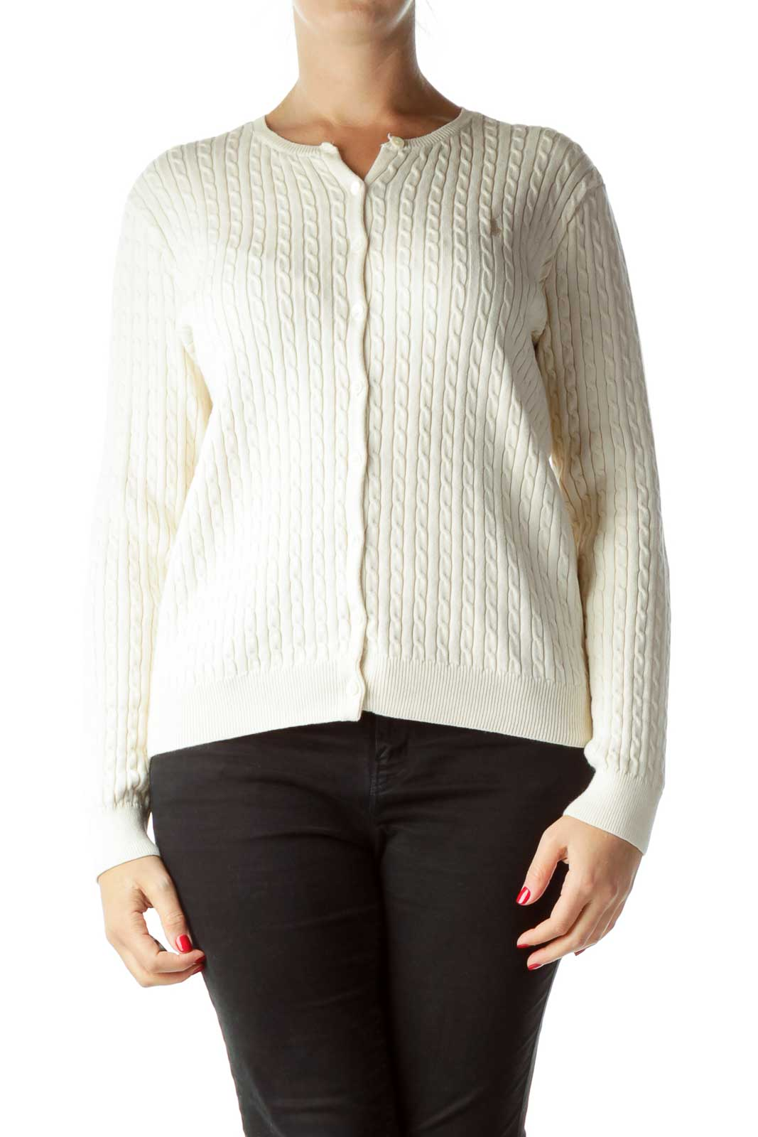 Beige Cable Knit Buttoned Cardigan